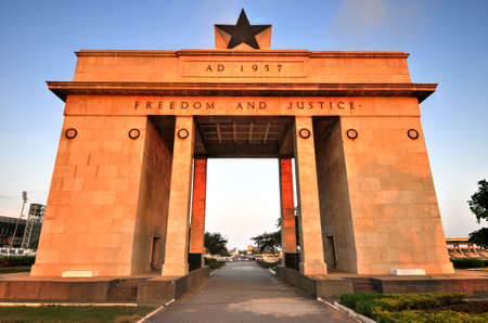 The Independence Arch of Independence Square of Accra, Ghana at sunset. Inscribed with the words Freedom and Justice, AD 1957, commemorates the independence of Ghana, a first for Sub Saharan Africa. Editorial