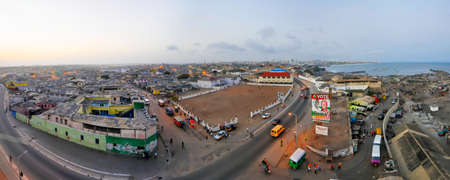 Panoramic view of Accra, Ghana in the evening from the Jamestown Lighthouse.