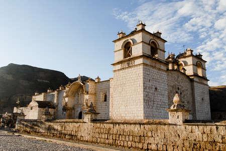 Immaculate Conception Church in Yanque, Peru at dawn.