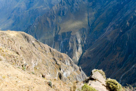 mirador: View of Colca Canyon, Peru, South America from Mirador Cruz del Condor. One of the deepest canyons in the world.