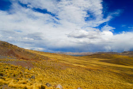 Road Cusco-Puno, Peru, South America. Sacred Valley of the Incas. Spectacular nature of mountains and blue sky.