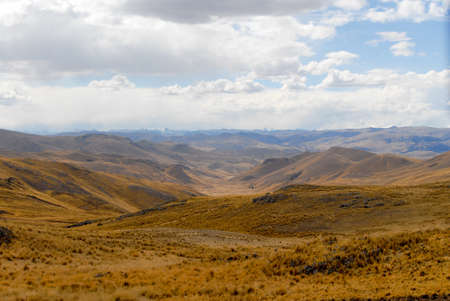 sacred valley of the incas: View along the Cusco-Puno Road in Peru, South America following the Sacred Valley of the Incas. Stock Photo