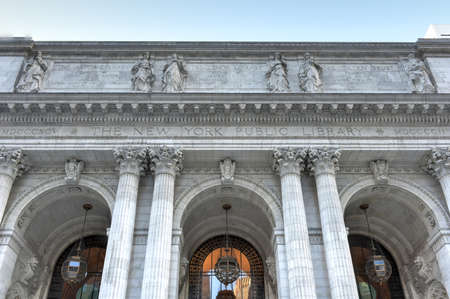 library: New York Public Library Main Branch in Midtown, Manhattan, New York. With nearly 53 million items, the New York Public Library is the second largest public library in the United States.