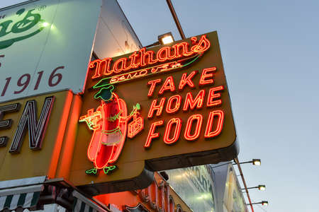 BROOKLYN, NEW YORK - JANUARY 1, 2015: Nathans Famous Hotdogs is a historic landmark and tradition at Coney Island in Brooklyn, New York.