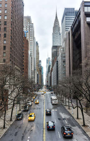 42nd: NEW YORK, NEW YORK - JANUARY 4, 2015: View along 42nd Street, Manhattan, New York looking West. Editorial