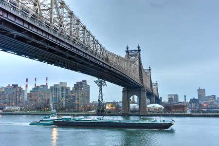 queensboro bridge: View of Queensboro Bridge from Manhattan, New York at dusk. Stock Photo