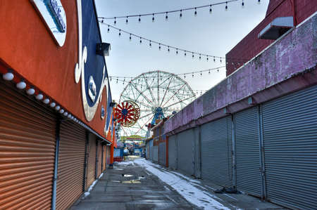 coney: BROOKLYN, NEW YORK - JANUARY 11, 2015: Coney Island Attraction Park, during the winter. Editorial