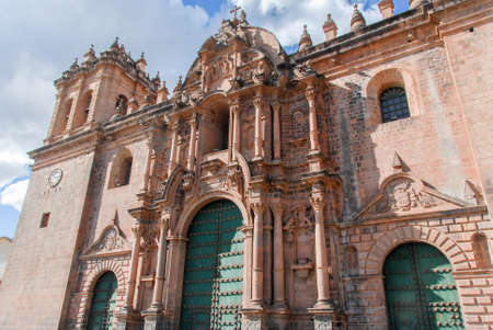 plaza of arms: Cathedral of Santo Domingo in Cusco, Peru. The building was completed in 1654, almost a hundred years after construction began.