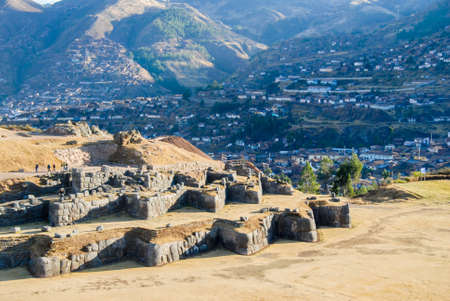 monument valley view: Sacsayhuaman, a walled complex on the northern outskirts of the city of Cusco, Peru, the former capital of the Inca Empire. Stock Photo