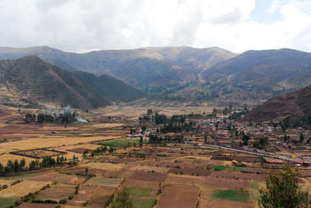 sacred valley of the incas: View along the Cusco Road in Peru, South America following the Sacred Valley of the Incas. Stock Photo
