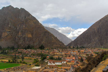 sacred valley: Ollantaytambo - old Inca fortress and town the hills of the Sacred Valley (Valle Sagrado) in the Andes mountains of Peru, South America.