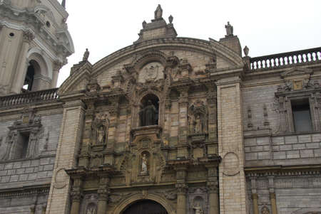 Basilica Cathedral of Lima in the Plaza Mayor of Downtown Peru. photo