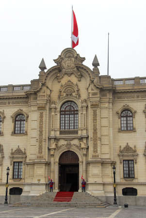 Facade of the presidential palace in the center of Lima, Peru