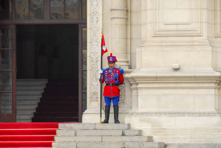 LIMA, PERU - AUGUST 21, 2006: Guard of the presidential palace in the center of Lima, Peru