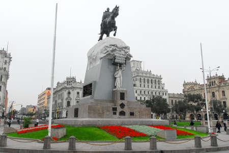 the liberator: LIMA, PERU - AUGUST 21, 2006: Plaza San Martin in Lima, Peru which pays homage to Perus liberator, Jose de San Martin.