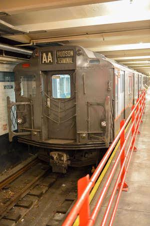 BROOKLYN, NEW YORK - SEPTEMBER 15, 2012: New York Transit Museum with vintage train.