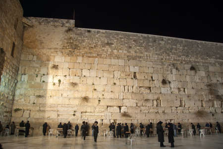 jewish community: Western Wall (Wailing wall) in Jerusalem at night.