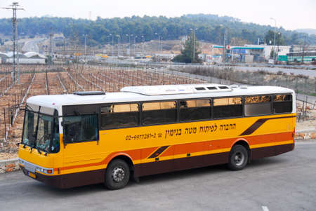 west bank: Bullet Proof Bus outside a winery in Gush Etzion, West Bank, Israel.