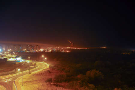View of Gaza from Ashkelon, Israel at night. Ashkelon is located only 13km from Gaza and within rocket attack range. Imagens - 36128942