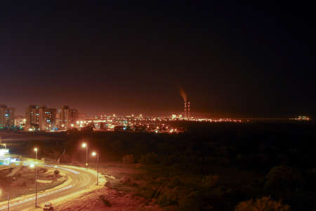 gaza: View of Gaza from Ashkelon, Israel at night. Ashkelon is located only 13km from Gaza and within rocket attack range.