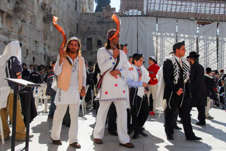 JERUSALEM - JANUARY 18, 2007: Bar Mitzvah ritual at the Wailing (Western) wall in Jerusalem, Israel.