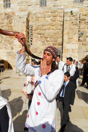 JERUSALEM - JANUARY 18, 2007: Bar Mitzvah ritual at the Wailing (Western) wall in Jerusalem, Israel.