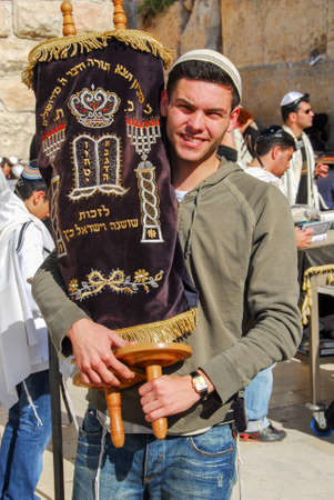 tefillin: JERUSALEM - JANUARY 18, 2007: Bar Mitzvah ritual at the Wailing (Western) wall in Jerusalem, Israel.