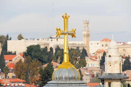 monotheism: Cross of the Church of the Holy Sepulchre in the Old City of Jerusalem. Stock Photo