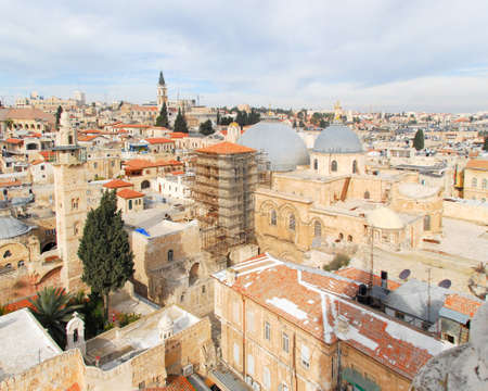 jewish home: Aerial view of the Church of the Holy Sepulchre in the Old City of Jerusalem. Stock Photo