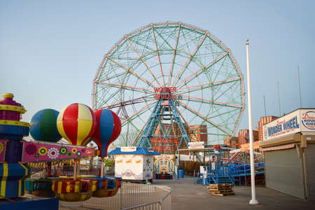 NEW YORK - DECEMBER 26, 2014: Wonder Wheel located at Denos Wonder Wheel Amusement Park in Coney Island, NY. The Wonder Wheel was build in 1920 and was declared a historic landmark in 1989. Editorial