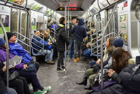 NEW YORK, NEW YORK - JANUARY 10, 2015: New York City subway train going to Coney Island.