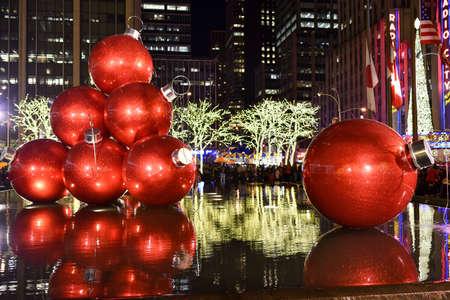 NEW YORK CITY - DEC. 25, 2014: New York City landmark, Radio City Music Hall in Rockefeller Center decorated with Christmas decorations in Midtown, Manhattan NYC. Editorial