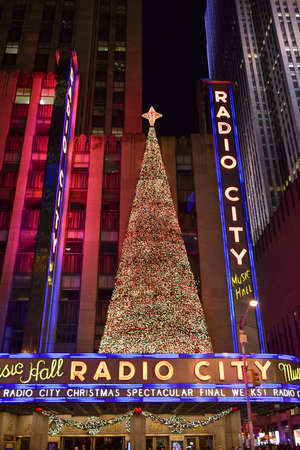 nightshot: NEW YORK, NEW YORK - DECEMBER 25, 2014: Radio City Music Hall at night in New York during the holidays.