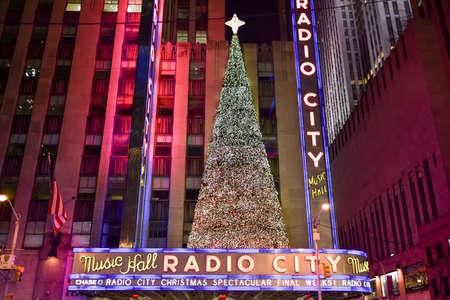 NEW YORK, NEW YORK - DECEMBER 25, 2014: Radio City Music Hall at night in New York during the holidays.