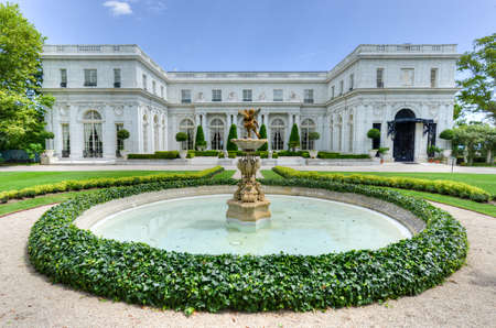 NEWPORT, RHODE ISLAND - AUGUST 1, 2013: Rosecliff. built 1898-1902, is one of the Gilded Age mansions, in Newport, as seen on July 19, 2013. It was modeled after the Grand Trianon of Versailles.