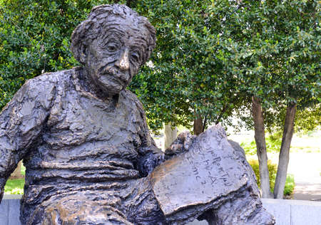 WASHINGTON, D.C. - May 5, 2013: Albert Einstein Memorial - bronze statue by Robert Berks on the grounds of the National Academy of Sciences in Washington, D.C.