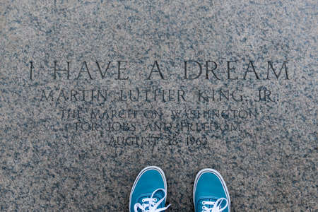 kings: I have a Dream, Martin Luther King on Lincolns Memorial steps, Washington DC, United States.