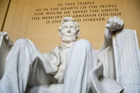 lincoln: Statue of Abraham Lincoln, Lincoln Memorial, Washington DC with inscription.