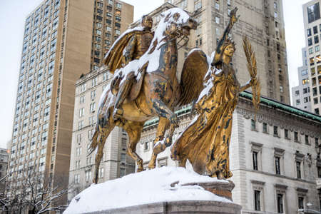 augustus: William Sherman memorial located in New York City on the corner of Central Park South by Augustus Saint-Gaudens. William Sherman was a United States general who served in the American Civil War. Stock Photo