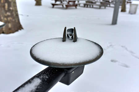 flurry: Snow-filled Water Fountain following a winter storm.