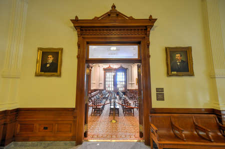 AUSTIN, TEXAS - MARCH 7, 2014: Supreme Court entrance in the state capitol of Texas in Austin. Editorial