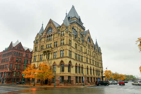 Syracuse Savings Bank at Clinton Square in downtown Syracuse, New York State, USA Stock Photo