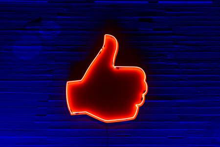 illuminated: Neon Illuminated Thumbs Up (Like Symbol).