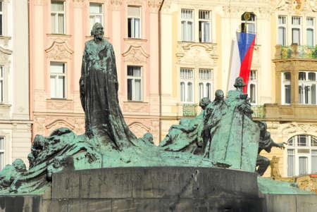 old town square: Old Town Square (Staromestske namesti), Jan Hus monument in Prague, Czech Republic Editorial