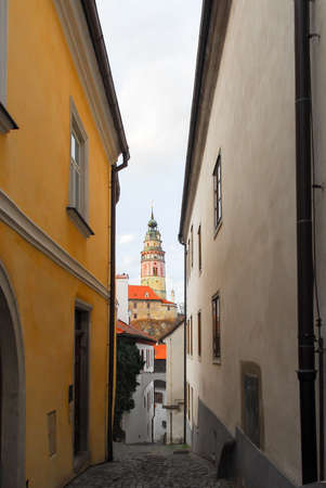 Tower of the Castle of Cesky Krumlov in South Bohemia, Czech Republic.