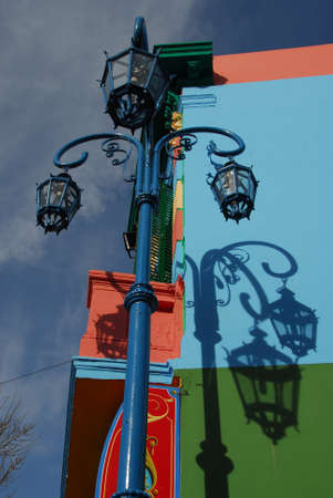 la boca: Colorful Caminito street and lamppost in the La Boca neighborhood of Buenos Aires, Argentina