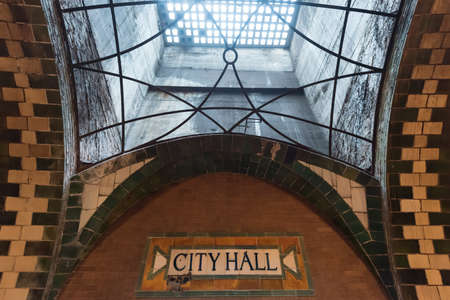 New York, USA - May 30, 2015: City Hall Subway Station in Manhattan. Landmark station built in 1904 to inaugurate the NYC Subway system. Editorial