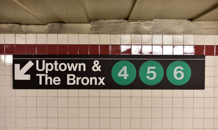 uptown: New York, USA - May 30, 2015: Brooklyn Bridge City Hall Subway Station in Manhattan. Uptown & The Bronx 4, 5, 6 trains.
