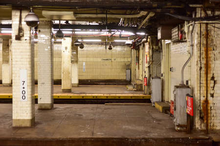 New York, USA - May 30, 2015: Chambers Street Subway Station in Manhattan.