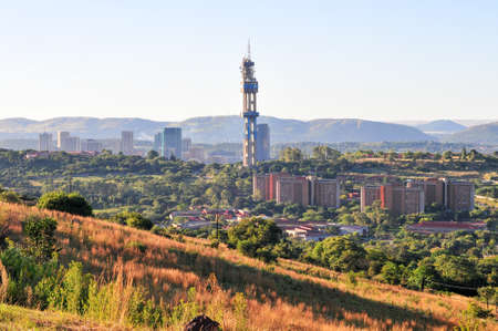 south africa nature: View of Pretoria, South Africa from Fort Klapperkop at sunset. Stock Photo